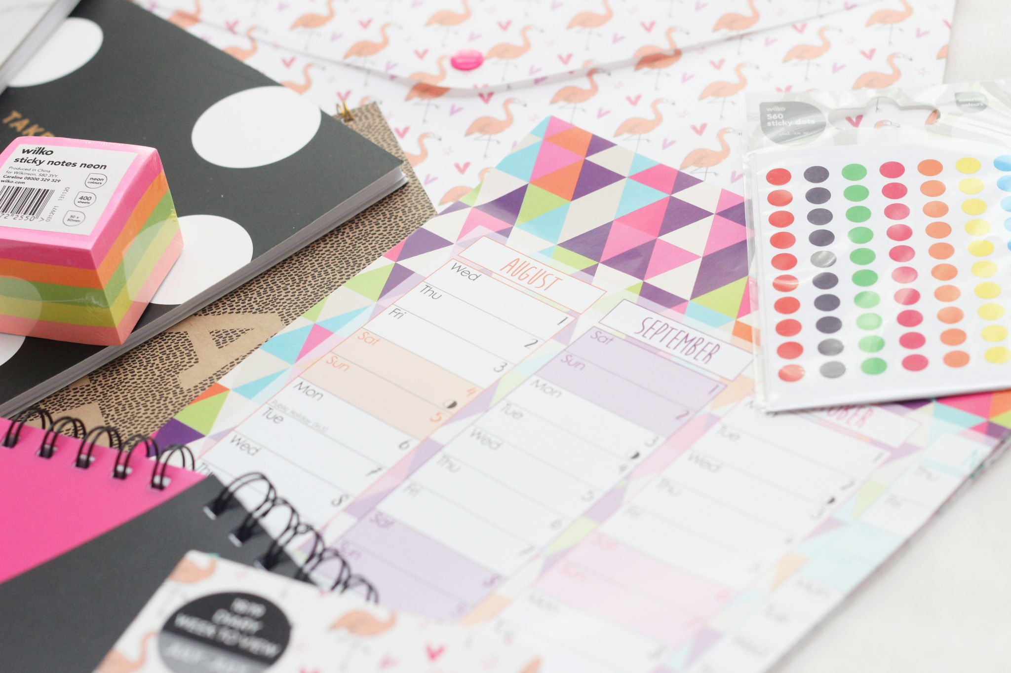 first year stationery wall planner and sticky dots