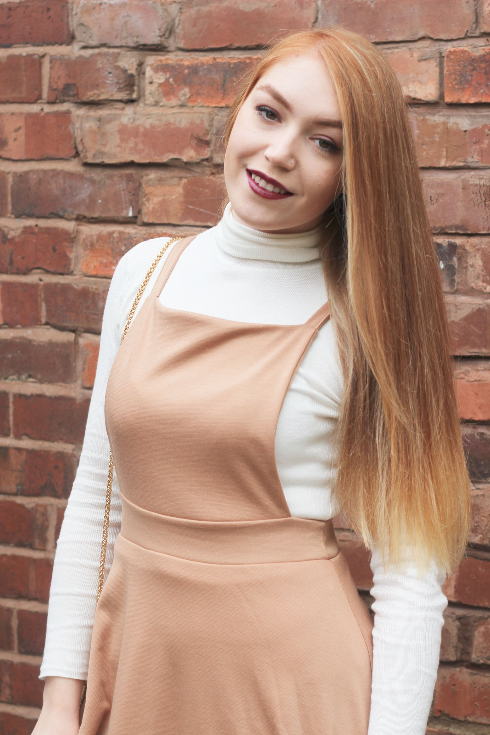 Boohoo Meal Deal Me in Pinafore Dress Brick Wall