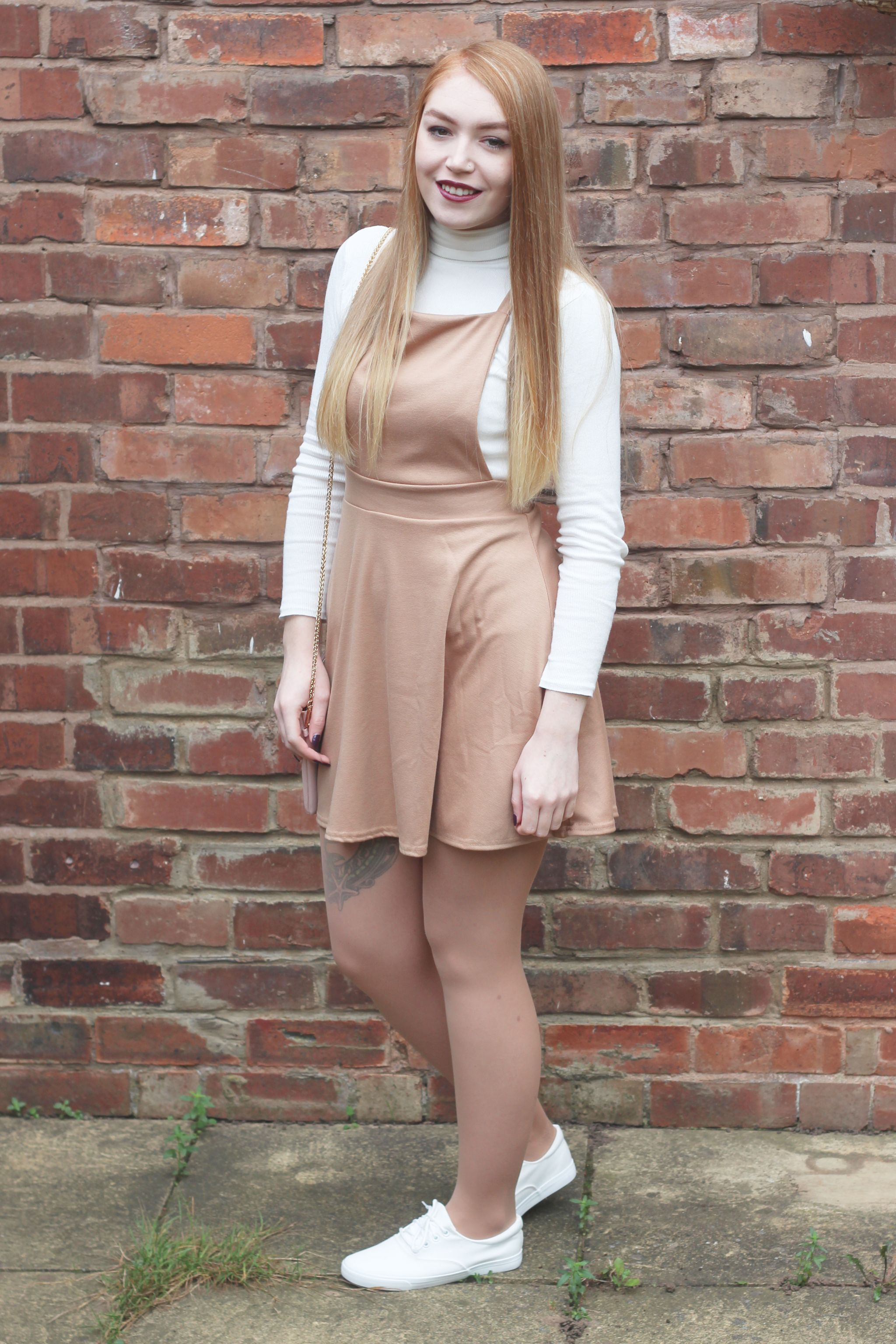 Boohoo Meal Deal Me in Camel Pinafore Dress Brick Wall