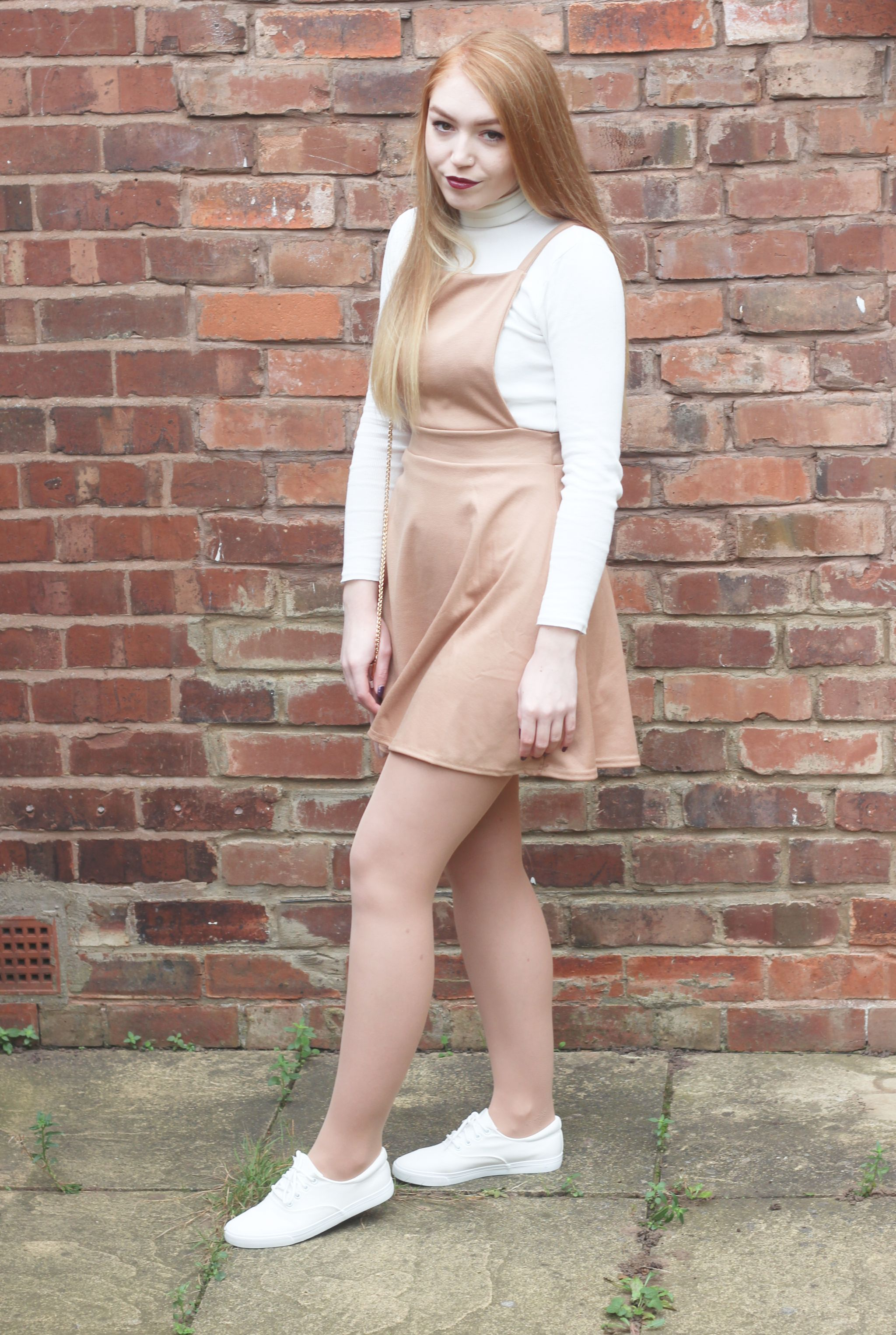 Boohoo Meal Deal Me in Pinafore Dress Brick Wall White Shoes