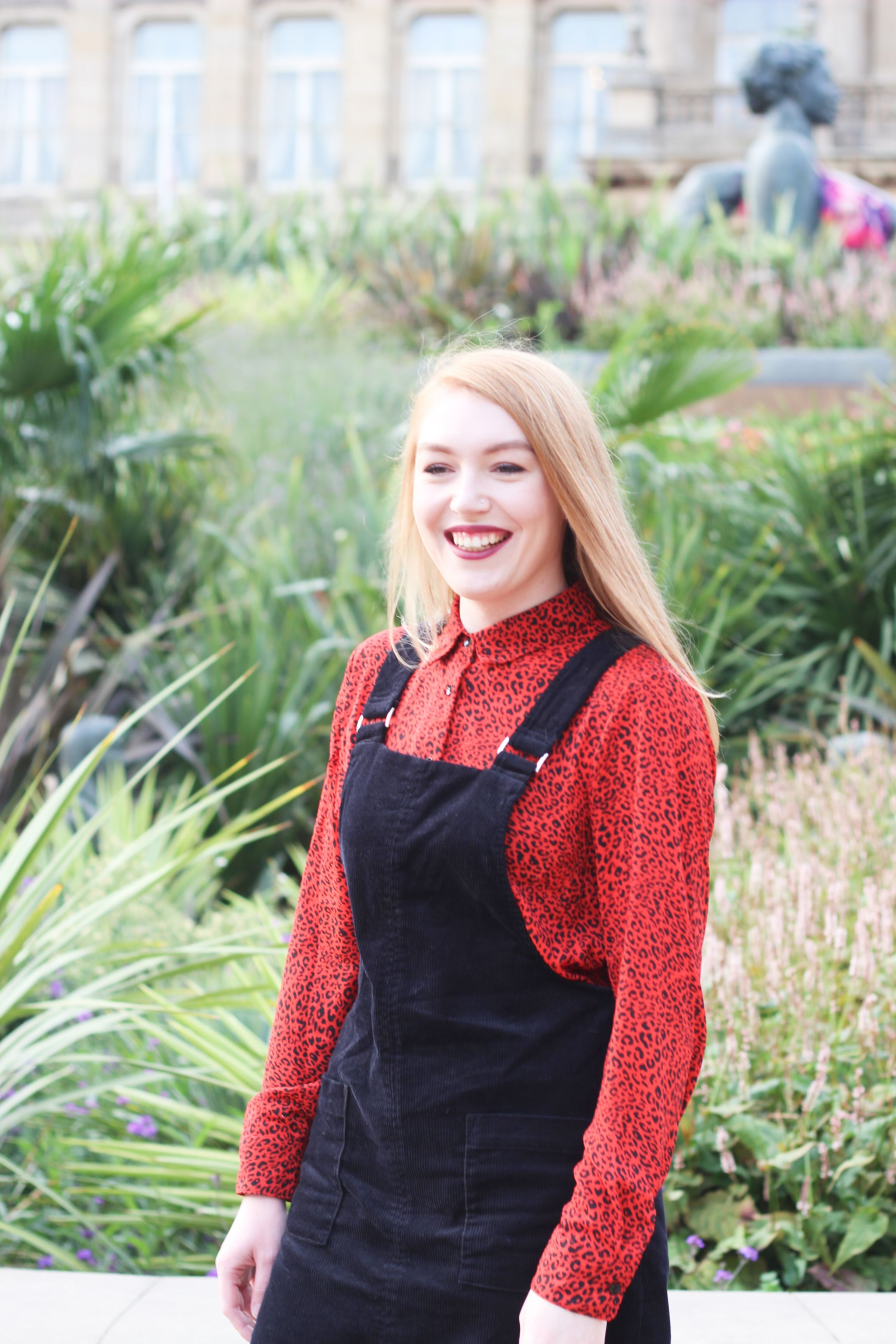 University Me in Red Leopard Print Shirt and Cord Pinafore