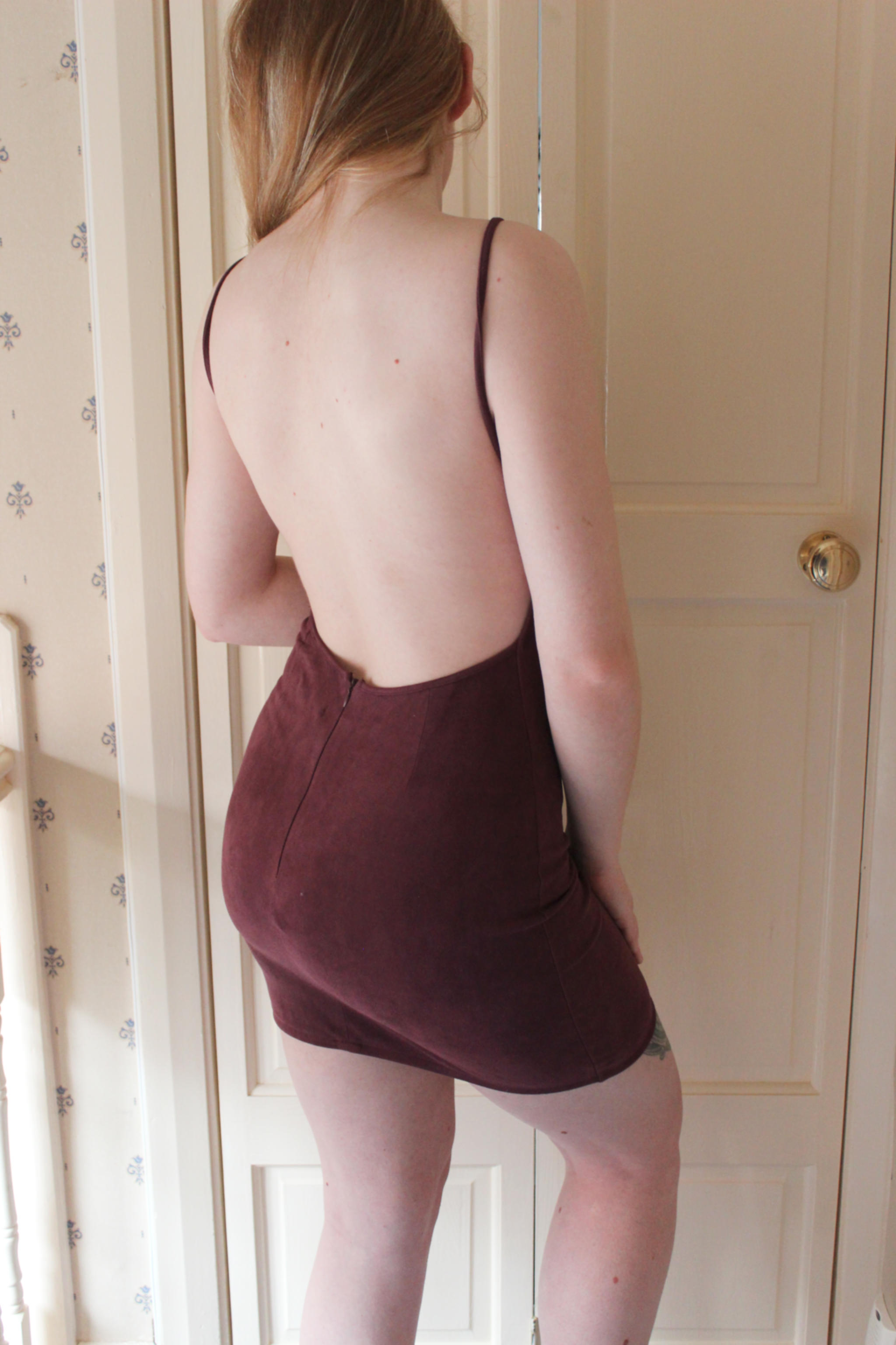 Me in Backless Burgundy Dress wearing Nipple Covers Shapewear Solutions