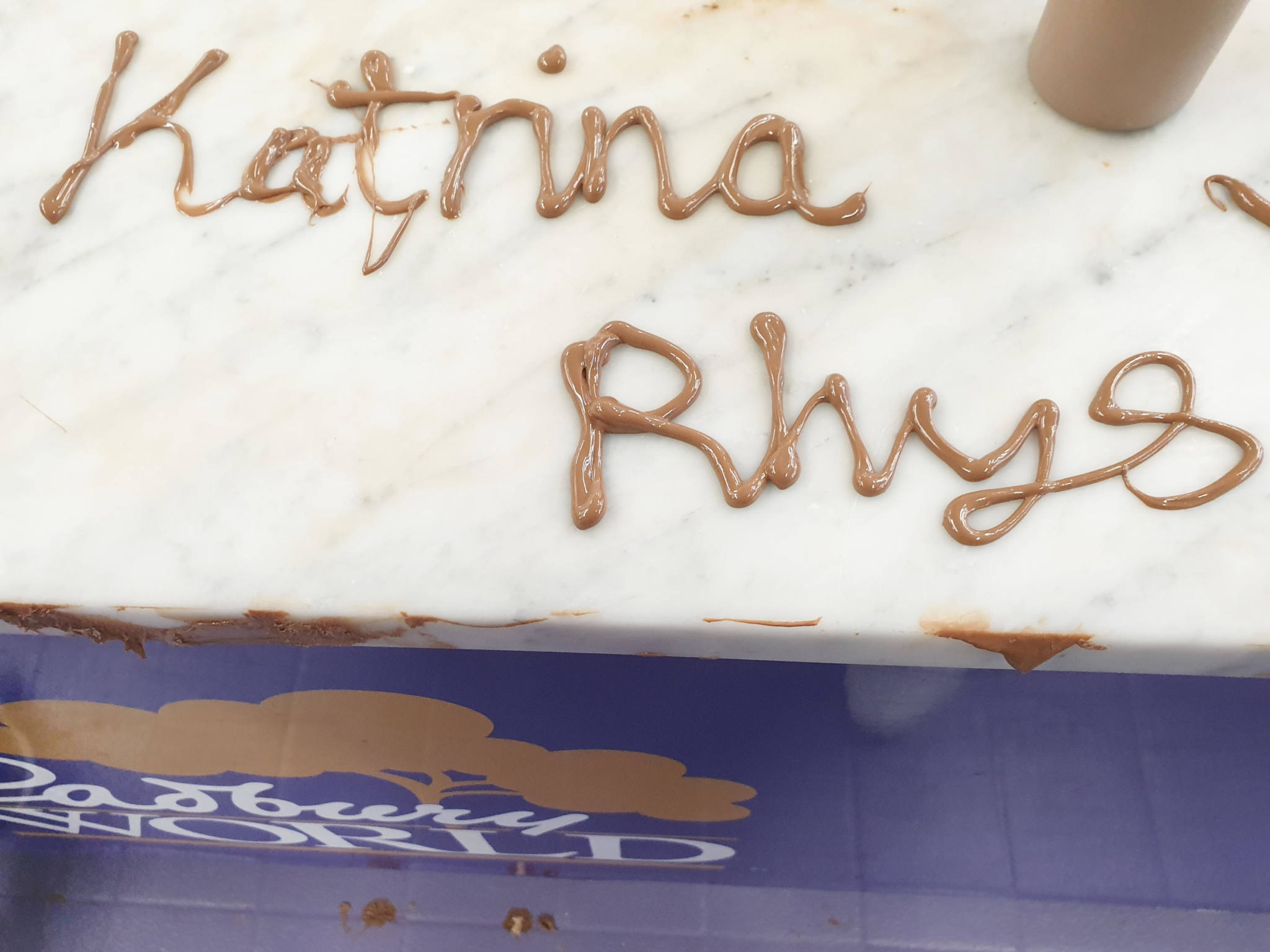 Katrina and Rhys written in chocolate Cadbury World Birmingham