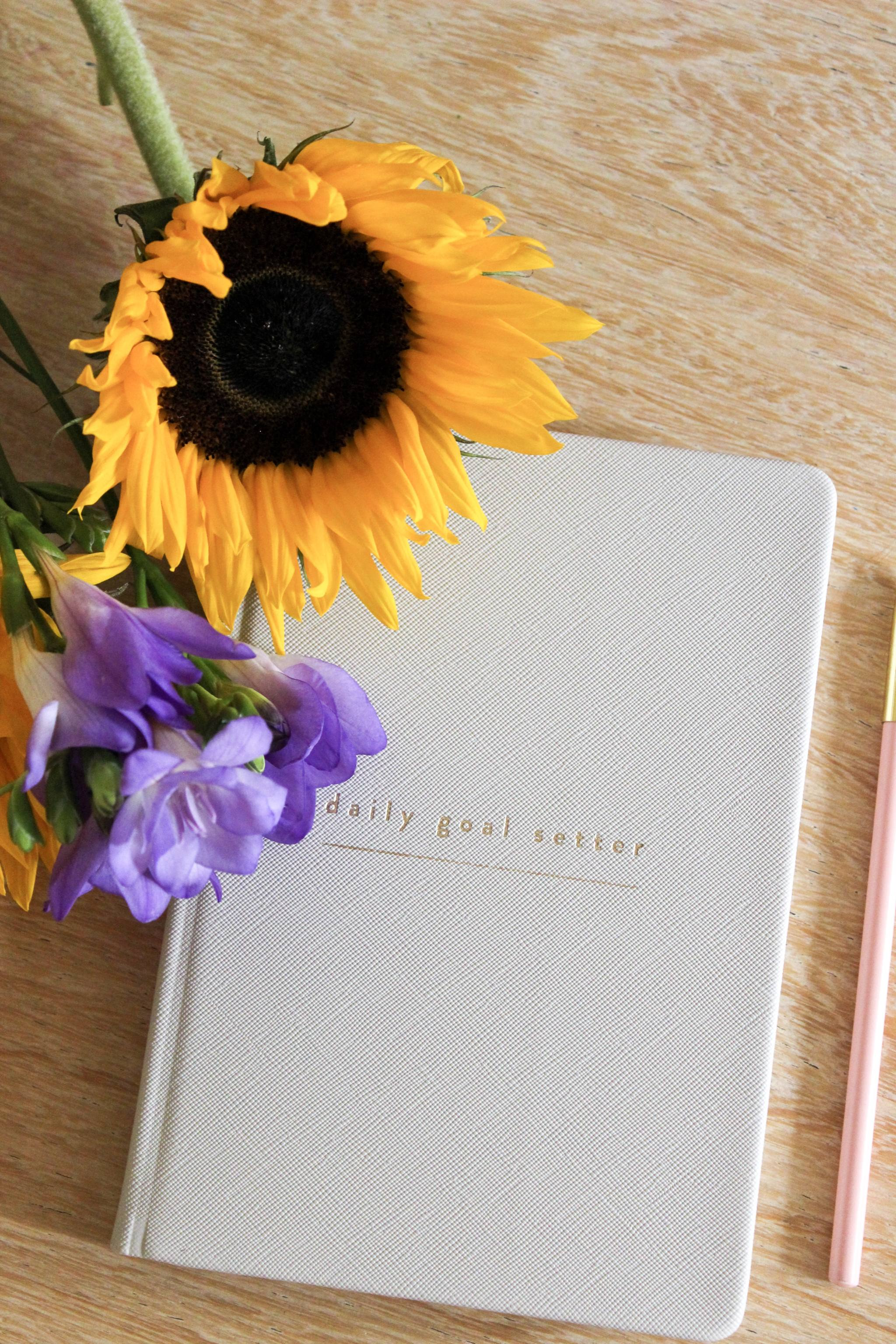 Daily Goal Setter Planner with Sunflowers and Purple Freesias