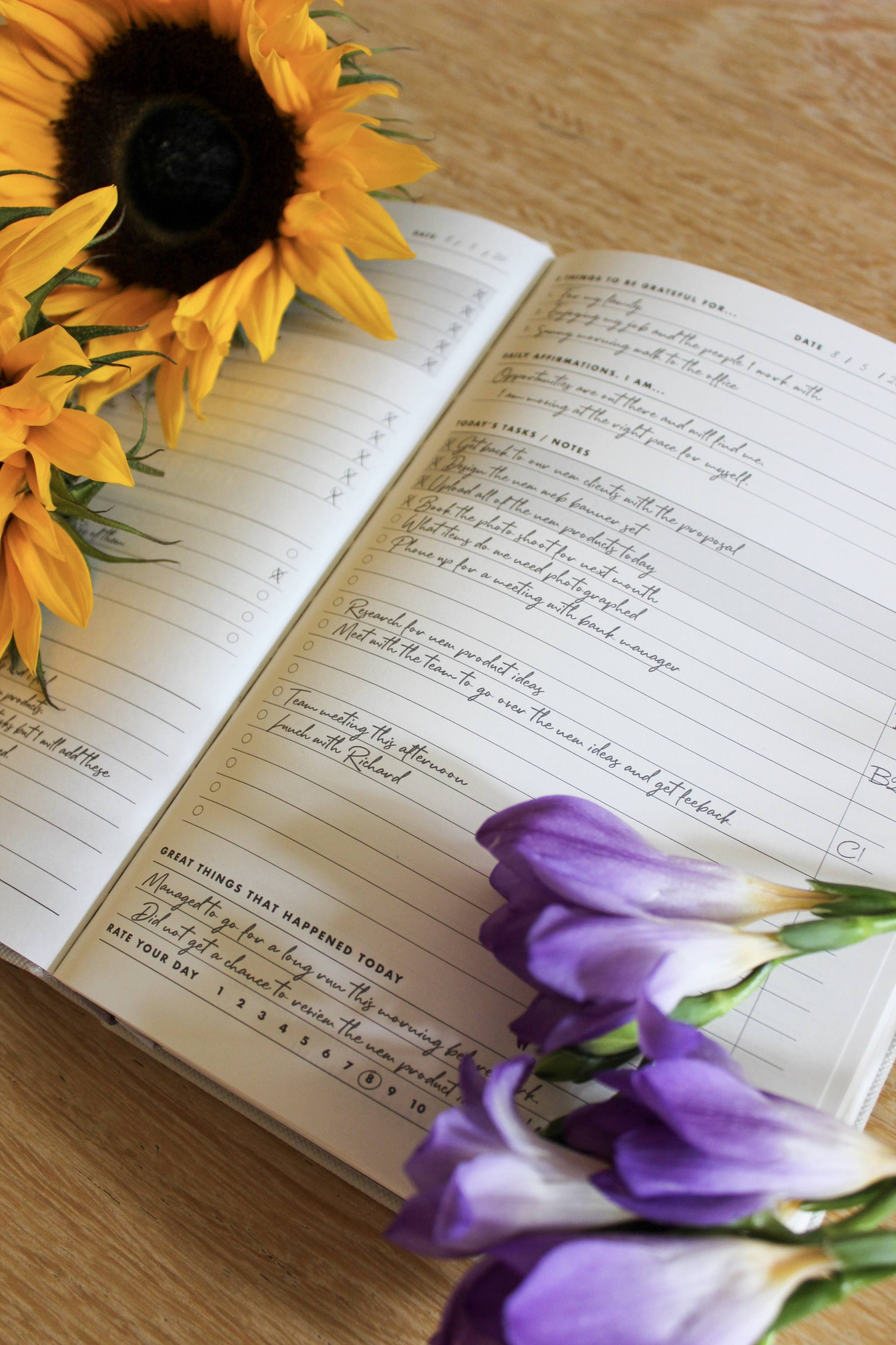 Example page with Sunflowers and Purple Freesias