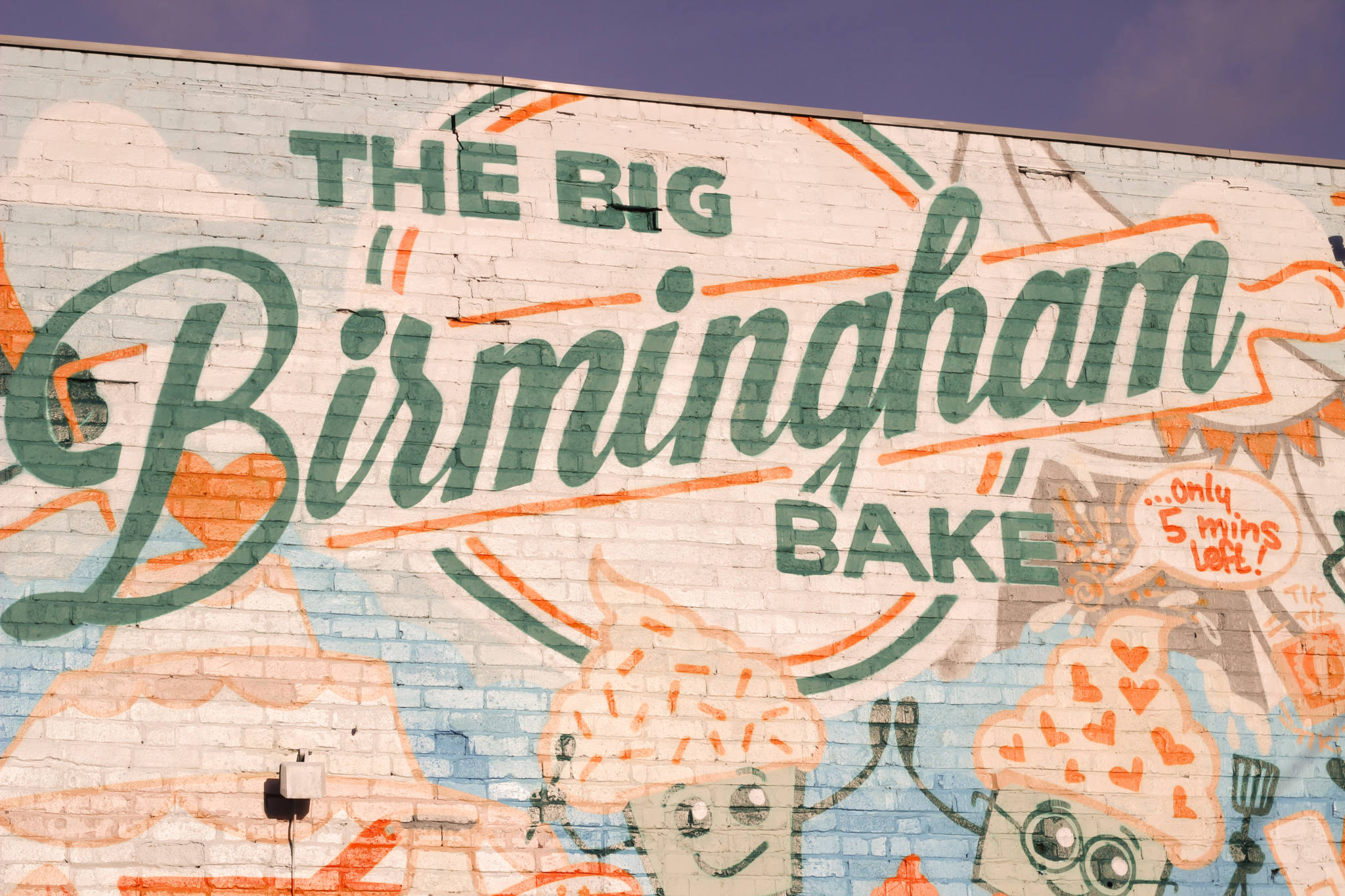 Graffiti Art on side of building, The Big Birmingham Bake with cupcake painting