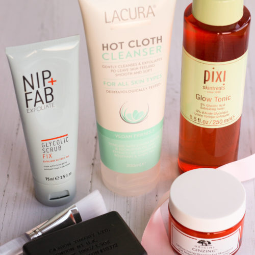 Skincare Cleanser Bar, Origins Moisturiser Pot, Pixi Glow Tonic, Hot Cloth Cleanser and Nip+Fab Exfoliator