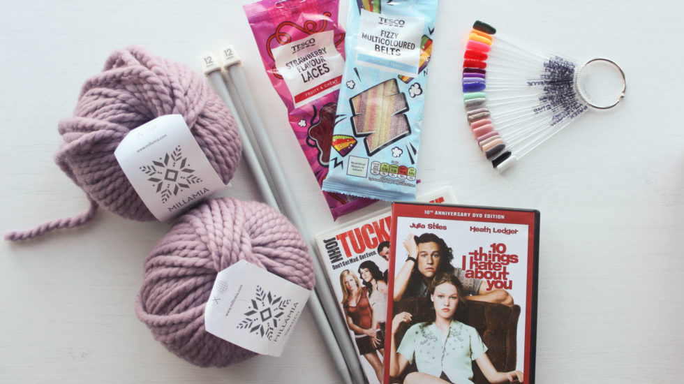 Wool, knitting needles, sweets, films and nail swatch sticks