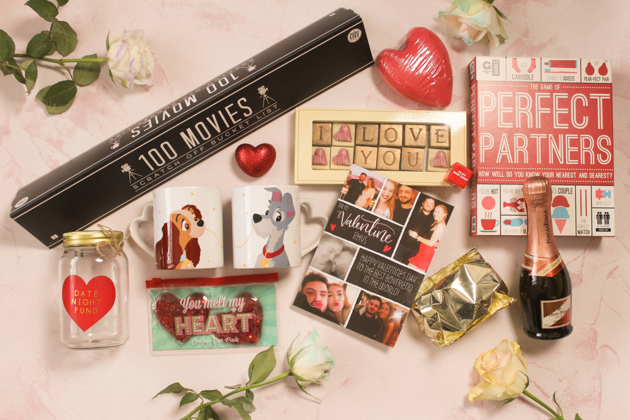 Assortment of Valentine's Gifts and personalised card