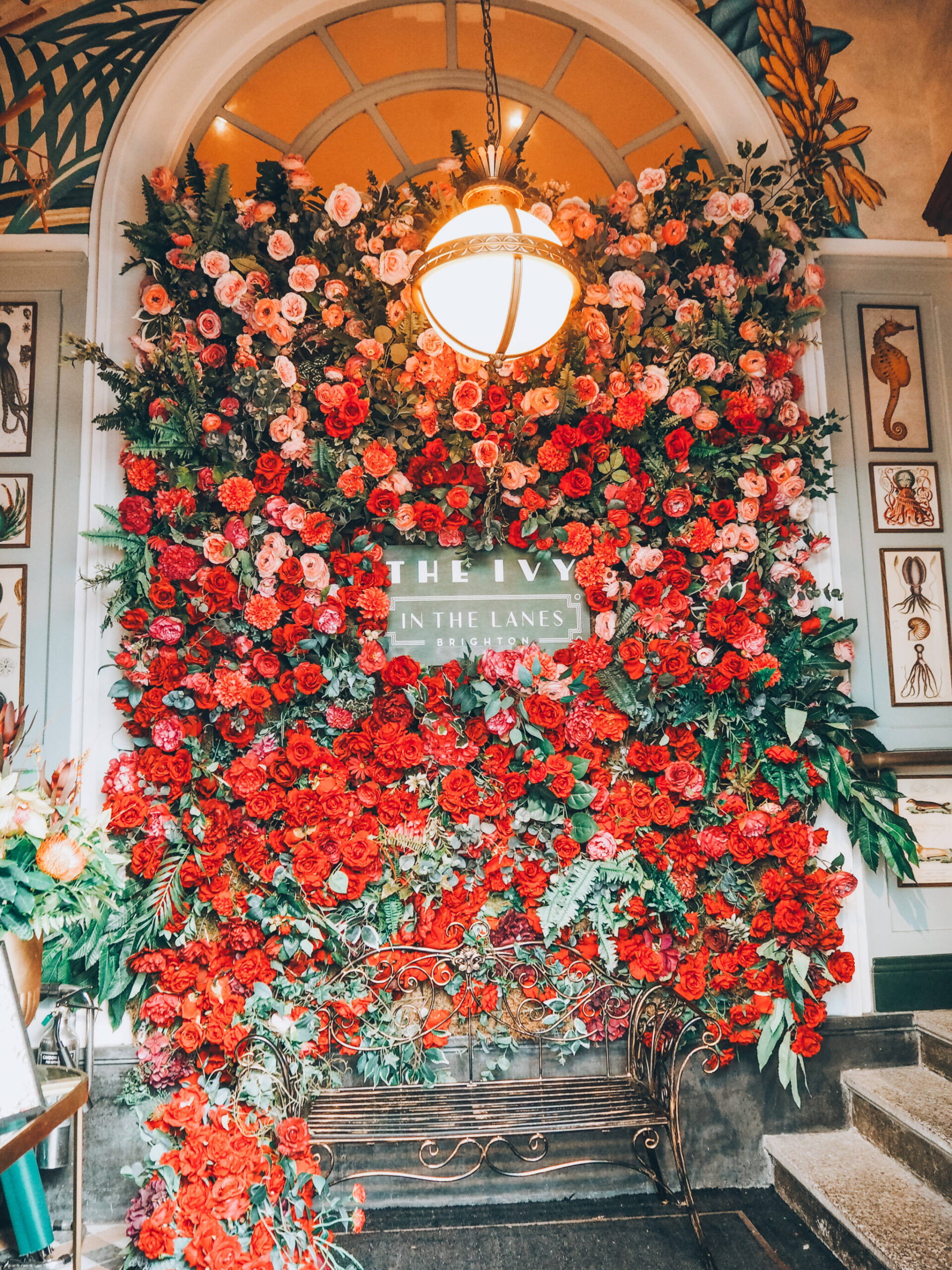 The entrance of Ivy in the Lanes Brighton, with a floral wall and copper bench